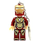 New Single Iron Man Super Hero Minifigures Keychain For Keys Custom Ring Keychains DIY Handmade Key Chain Building Blocks Toys (Red)