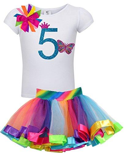 Bubblegum Divas Big Girls 5th Birthday Rainbow Princess Butterfly Tutu Outfit 6]()