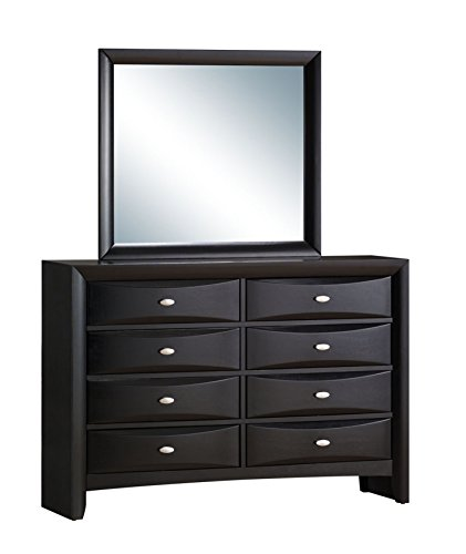 Roundhill Furniture Blemerey Fully Assembled Dresser and Mirror, Black Wood Finish by Roundhill Furniture