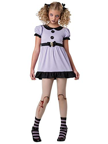 InCharacter Costumes Tween Dead Dolly Zombie Costume, Lavender/Black, Small/8-10 -