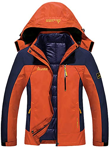 GEMYSE Women's Double Layer Jacket Waterproof Puff Liner Winter Cotton Coat(Lily Orange Yellow,XS)