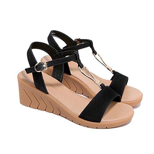 Ocio Punta Negro De Redonda Tama EU40 Abierta Zapatillas XW Verano Cabeza CN41 Mujeres para Pendiente Verano Color Mujer PU Zapatos o Sandalias Superior UK7 Chicas de RvPp6wP8q