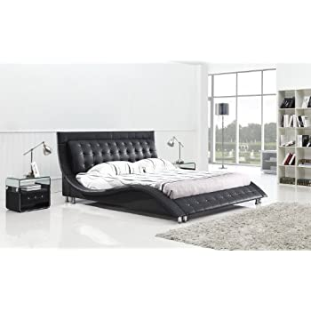 Amazon.com: Dublin Modern Platform Bed Queen Size (Black): Kitchen ...