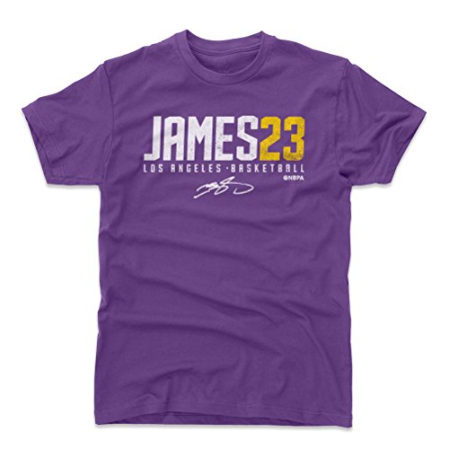 500 LEVEL Lebron James Cotton Shirt Large Purple - Los Angeles Basketball Men's Apparel - Lebron James James23 W WHT (Jersey Lakers Shirt La)