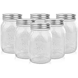 Golden Spoon Mason Jars With Lids, Set of 6
