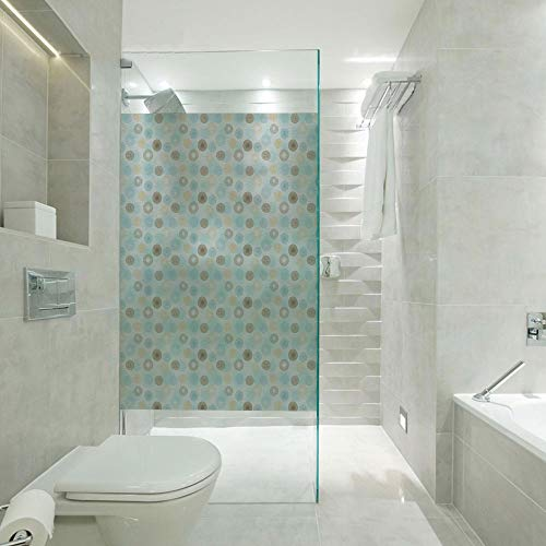Price comparison product image RWNFA Covering Privacy Film Shower Window Cling, Twirls Vortex Design Geometric Curved Lines Hypnotic Elements Decorative, Customizable Size, Suitable for Bathroom, Door, Glass etc, Pale Blue Mustard Umber