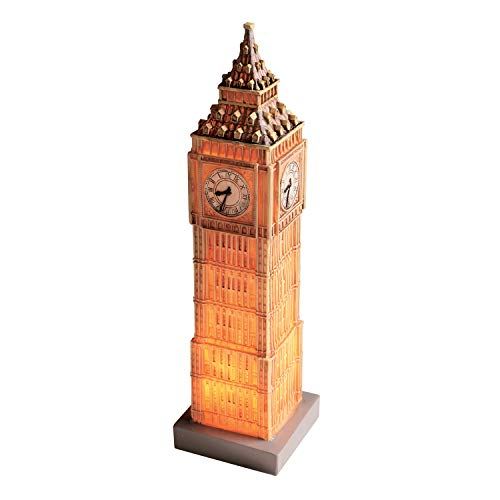 "What On Earth Great Places Table Lamp - London, England Big Ben, Small Accent Light for Desk - 3"" x 3"" x 14"""