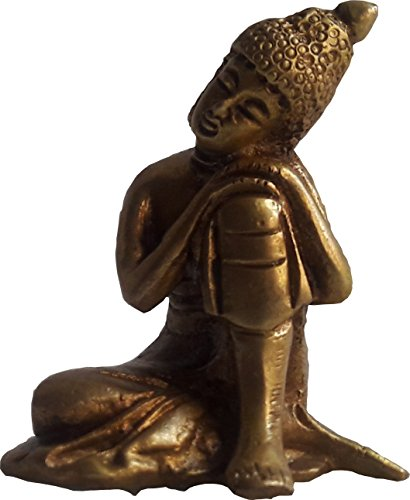 - KVR Golden Thinking Brass Buddha Statue for Gifting & Decoration