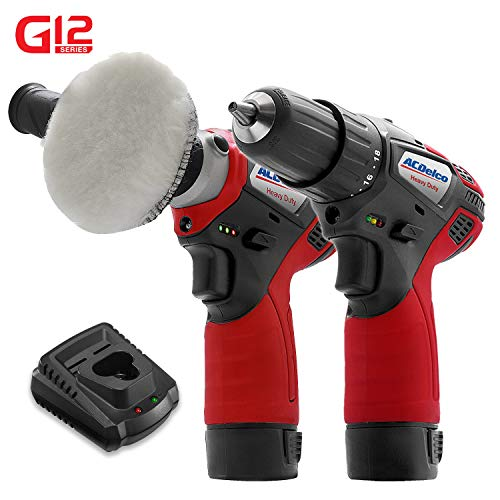 ACDelco G12 Series 2-Tool Combo Kit- Compact 3'' Polisher/Sander Tool + 3/8 in 2-Speed Drill/Driver