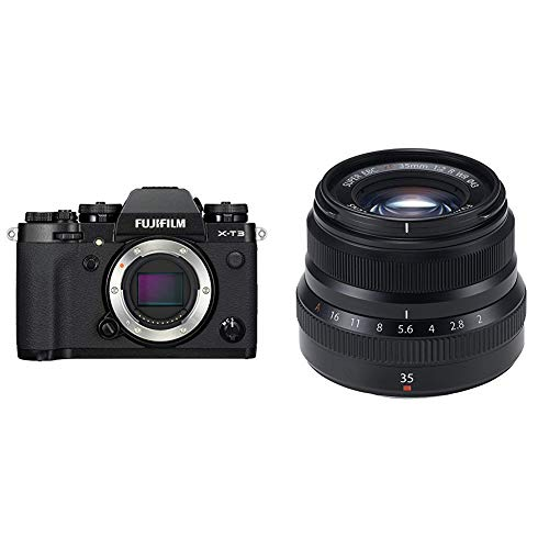 Fujifilm X-T3 Mirrorless Digital Camera (Body Only) - Black with Fujinon XF35mmF2 R WR - Black