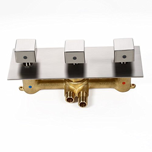 JiaYouJia Concealed Solid Brass Standard 3-Function Shower Valve and Trims with Square Knobs (Brushed Nickel) by JiaYouJia