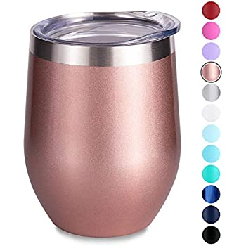 SUNWILL Vaccum Insulated Wine Tumbler with Lid Rose Gold, Double Wall Stainless Steel Stemless Insulated Wine Glass 12oz, Durable Insulated Coffee Mug, for Champaign, Cocktail, Beer, Office ...