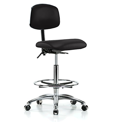 Perch Chrome Rolling Laboratory Chair With Footring and Adjustable Back Support for Medical Dental Office Home Kitchen Garage 22
