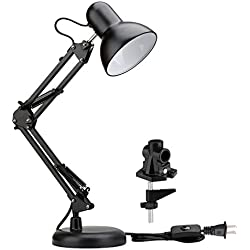 LE Swing Arm Desk Lamp, C-Clamp Table Lamp, Flexible Arm, Classic Architect Drawing Clamp-on Desk Lamp, Black Painted with Metal Clamp, UL Plug (Black - Metal Arm Joint)