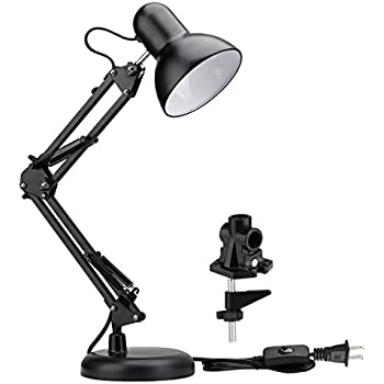 LE Swing Arm Desk Lamp, C-Clamp Table Lamp, Flexible Arm, Classic Architect Drawing Clamp-on Desk Lamp, Black Painted with Metal Clamp, UL Plug (Black - Metal Arm Joint) (Metal Clamp)