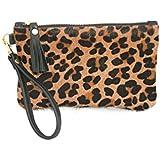 Cowhide Leather Wristlet - Leopard Fur Clutch with Tassel & Zipper