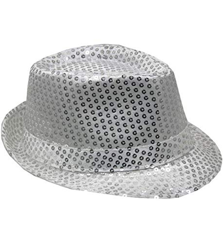 Mozzly Unisex Costume Accessories Sequin Fedora Hat, Glamorous, Flashing Disco Retro, Funky Sparkly, Luxurious, Fancy Novelty Party Costume Accessory for Dress-up, Theater Play for Men & Women, Silver -