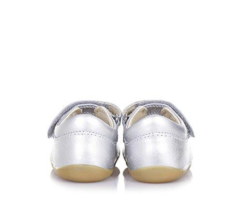 BOBUX - Ballerine Step Up Mary Jane argent en cuir, made in New Zealand, avec fermeture en velcro et semelle, bébé Fille