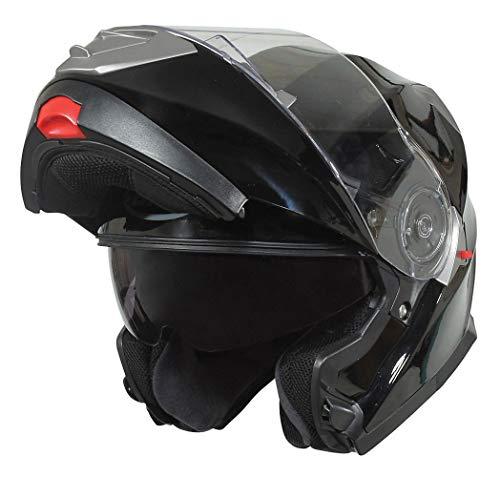 Bilt Evolution Flip Up Drop Down Sun Shield Vented DOT Sport Adventure Touring Bike Street Motorcycle Modular Helmet - Black 2XL