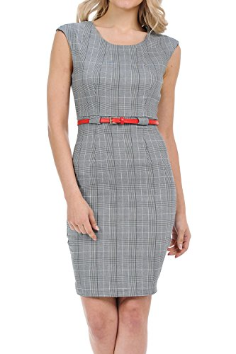 Auliné Collection Women's Color Office Workwear Sleeveless Sheath Dress Plaid Gray (Sheath Dress)