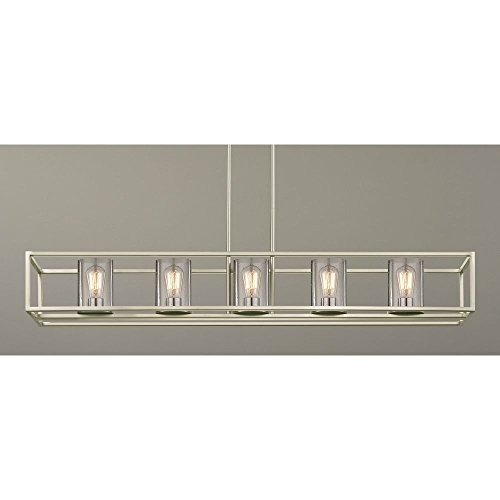 Rectangular Nickel Chandelier (Hanging Seeded Glass Linear Chandelier Satin Nickel Finish - 5 Lights)