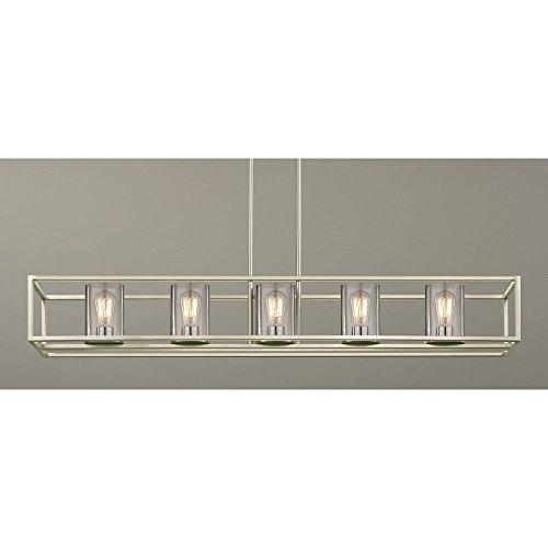 Rectangular Chandelier Nickel (Hanging Seeded Glass Linear Chandelier Satin Nickel Finish - 5 Lights)