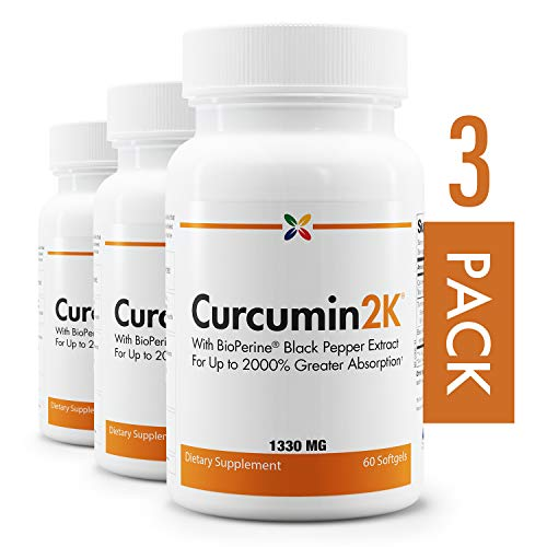 (3-Bottle Pack - Curcumin2K Formula with BioPerine Black Pepper Extract for Up to 2000% Greater Absorption - Stop Aging Now - 60 Veggie)