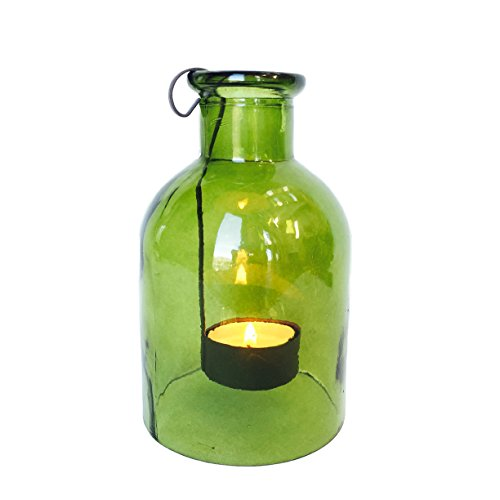 The Rustic Green Glass Tea Light Holder, Vintage Bottle Style, with Floating Tea Light Holder Included, Approx. 6 High By Whole House (Party City Floating Lanterns)