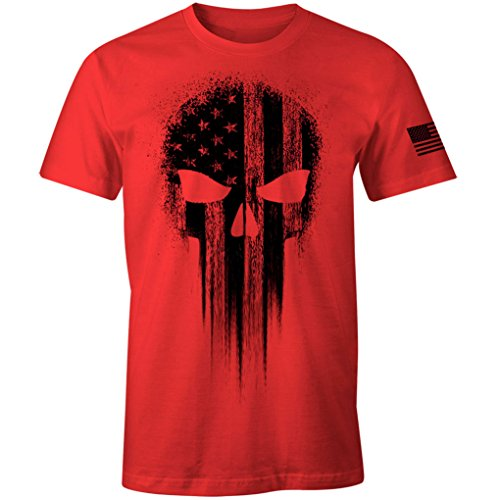 USA Military American Flag Black Skull Patriotic Men's T Shirt (Red, 5XL)