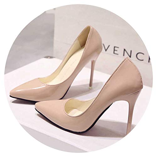 high Heels Women Pumps Thin Heel Classic White red nede Beige Sexy Prom Wedding Shoes Blue Red Wine,Apricot 10CM,6.5