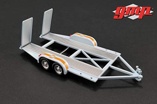 GMP Tandem Car Trailer with Tire Rack \Gulf Oil\ for 1/43 Scale Model Cars