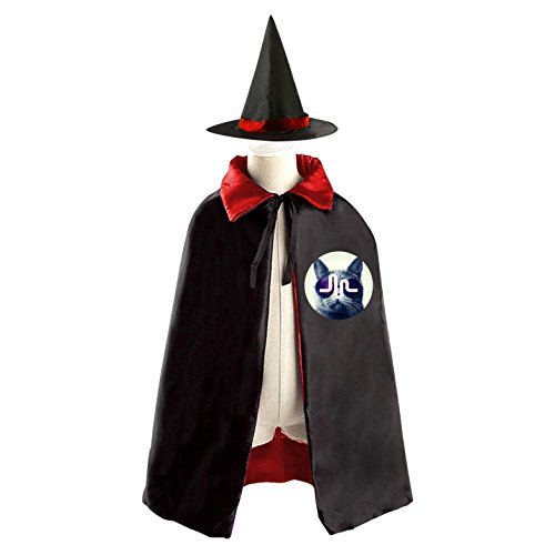 Cat Musical.ly Logos Kids Halloween Party Costume Cloak Wizard Witch Cape With Hat - Halloween Costumes Ariana Grande