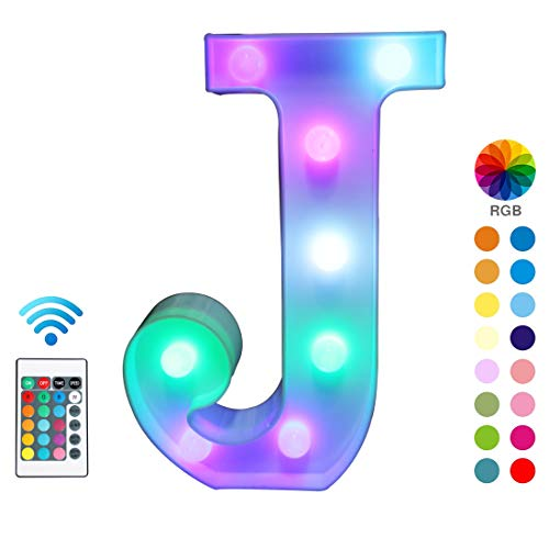 Pooqla Colorful LED Marquee Letter Lights with Remote - Light Up Marquee Signs - Party Bar Letters with Lights Decorations for The Home - Multicolor J