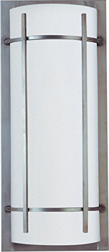 Maxim 85216WTBM Luna 2-Light Outdoor Wall Lantern, Brushed Metal Finish, White Glass, GU24 Fluorescent Fluorescent Bulb , 40W Max., Damp Safety Rating, 2900K Color Temp, Standard Dimmable, Glass Shade Material, 1300 Rated Lumens ()