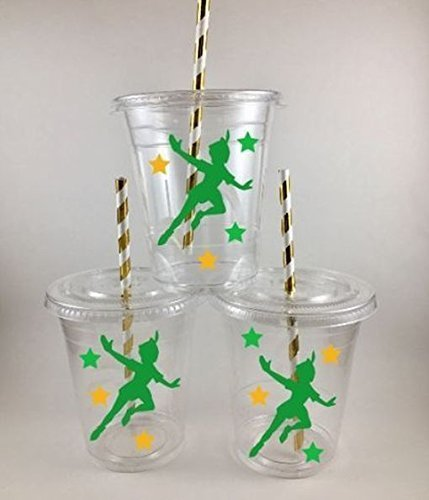 Peter Pan Party Cups SET OF 24 Birthday Favors WITH Lids and Straws ()