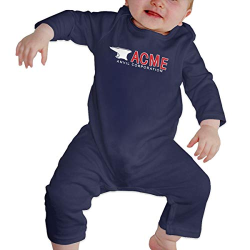 (SININIDR Newborn Jumpsuit Infant Baby Girls Acme Anvil Corporation Long-Sleeve Bodysuit Playsuit Outfits Clothes Navy)
