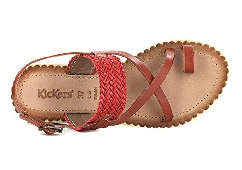 Kickers - Sandalias de Vestir de Otra Piel Mujer Rojo