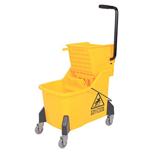 Commercial Grade Caster (HomCom 11 Gallon (44 Quart) Janitor Commercial Mop Bucket with Side Press Wringer)