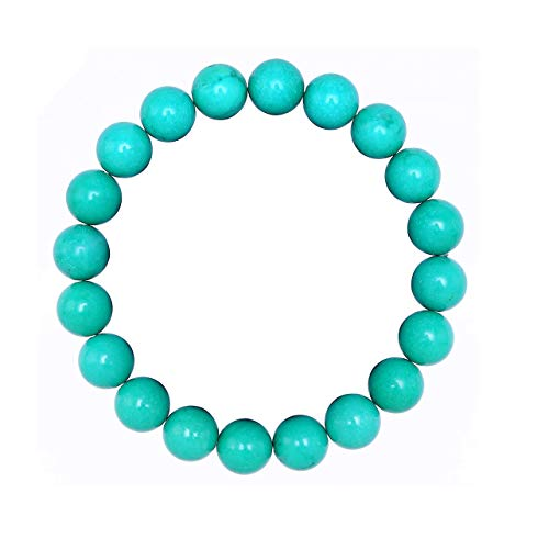 BRCbeads Gemstone Bracelets Chinese Green Turquoise Enhance Color Birthstone Handmade Healing Power Crystal Beads Elastic Stretch 10mm 7.5 Inch with Gift Box Unisex for $<!--$7.99-->