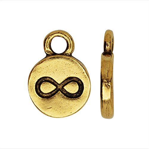 Nunn Design Itsy Charm, Infiniti Symbol 9mm, 1 Piece, Antiqued Gold Plated ()