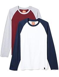 Men's 2-Pack Baseball Raglan Sleeve Crew Neck Long Sleeve T-Shirt