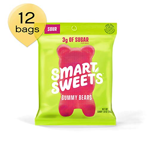 SmartSweets Gummy Bears Sour 1.8 oz bags (box of 12), Candy with Low-Sugar (3g) and Low-Calories (90)- Free of Sugar Alcohols and No Artificial Sweeteners, Sweetened with Stevia