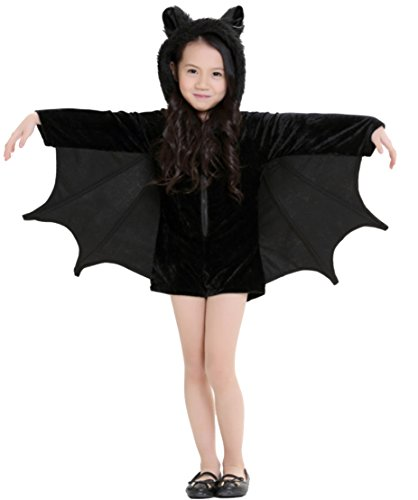 [Honeystore Kids Bat Jumpsuit Halloween Party Animal Costume Outfits, Height 100-120 cm] (Childs Bat Costume Pattern)