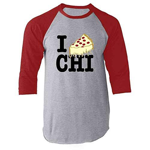 I Pizza Chicago Red L Raglan Baseball Tee Shirt ()