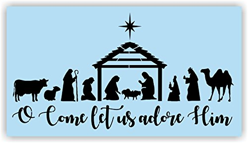 Christmas Nativity Scene Stencil for Painting Wood Signs, Reusable, Sturdy (Paintings Christmas Nativity)