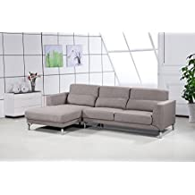 US Pride Furniture Aria Fabric Facing Left Chaise Modern Sectional Sofa Set, Brown