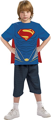 [Man of Steel Superman Costume Top with Cape Children's Costume, Medium] (Clark Kent Halloween Costume Girl)