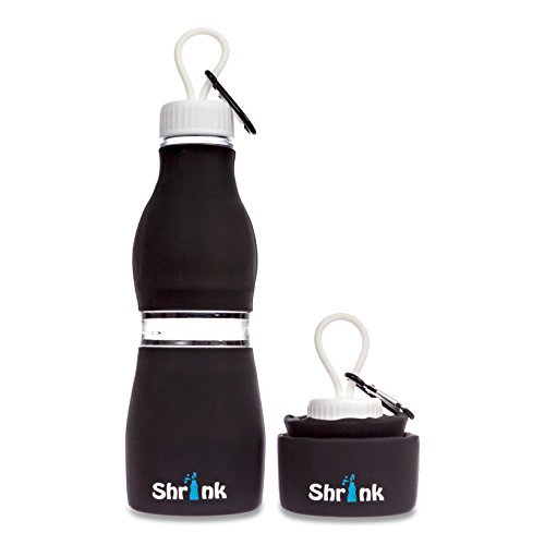 Collapsible Portable Silicone Water Bottle - by Shrink Sports   24 oz BPA Free Shatter Proof Container   Versatile and Durable for Fitness Activities and Travel
