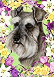 "Schnauzer Uncropped by Tamara Burnett Easter Flowers House Dog Breed Flag 28"" x 40"""