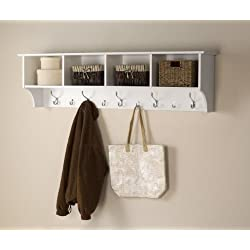 "Prepac 60"" Hanging Entryway Shelf, White"